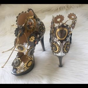Charlotte Olympia Silver Gold Gear High Heel Pumps